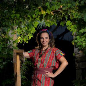 Barbara Santos in a Mexican huipil