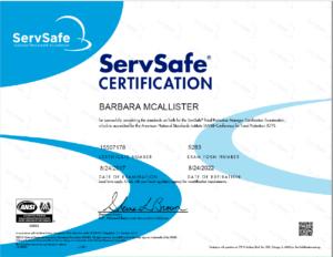 ServeSafe Certified