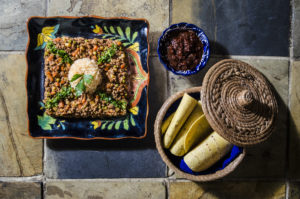 Picadillo with vegetables in chipotle sauce